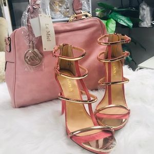 🆕️🕹Peach T Strap Open Toe Heels Faux Leather